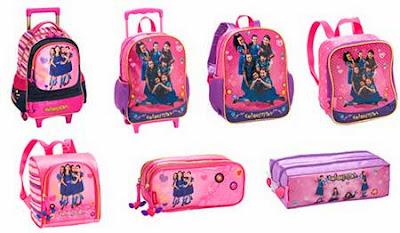 Modelos mochilas, estojos e lancheiras Chiquititas