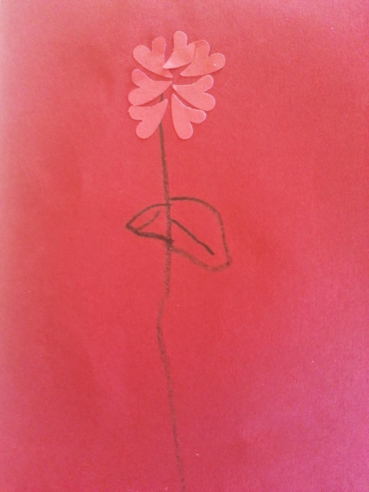 Handmade Mother's Day Card Pink Love Heart Petals on a single stem and red background