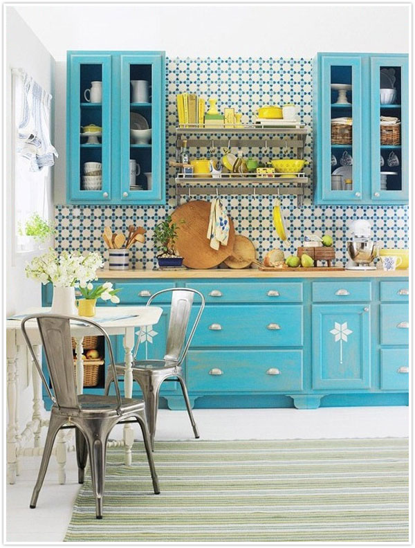 bright colorful kitchen cabinets design fixation