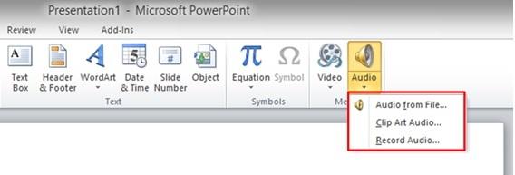 Screenshot of the dropdown menu of the Audio option