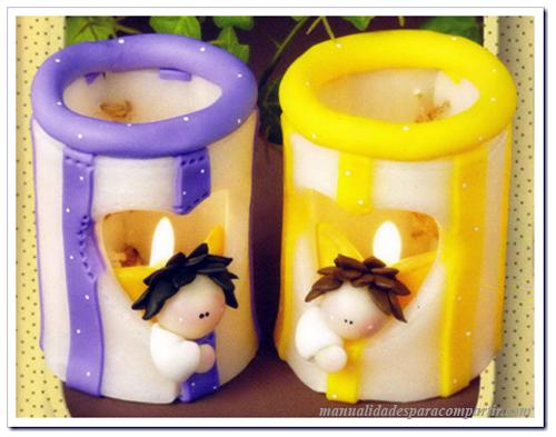 Manualidades con Porcela Fría paso a paso. Porta velas centros de mesa o souvenirs Primera Comunión.