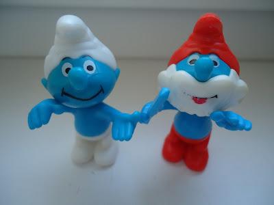 2 Smurf figures - Papa Smurf and Smiling Smurf
