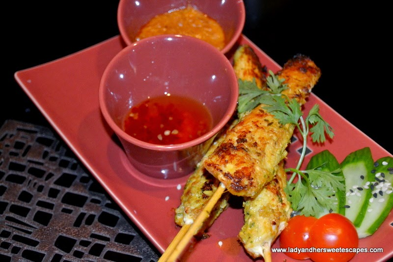Chicken Satay with peanut sauce at Dragon's Place Ajman