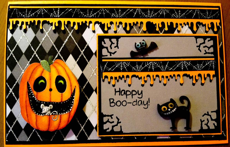 Halloween Birthday Ecards ~ Country lady designs a halloween birthday card