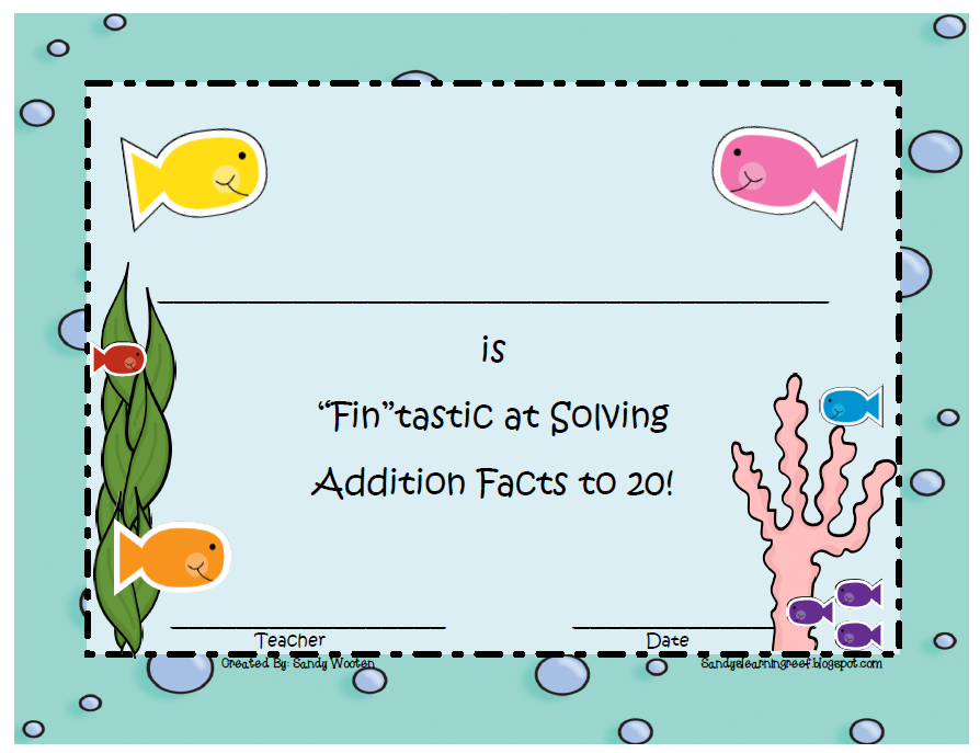 Sandy\'s Learning Reef: We are Fin-tastic at Solving Math Facts!!