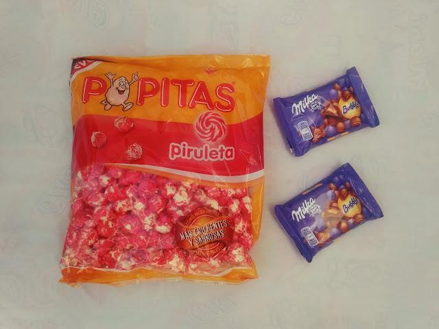 popitas piruleta y chocolate milka