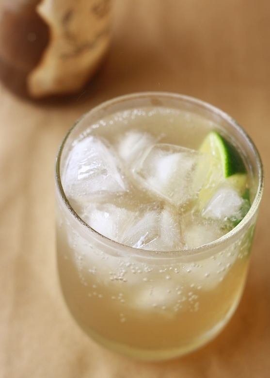 Easy homemade ginger ale, with grated ginger, simple syrup, lime and ...