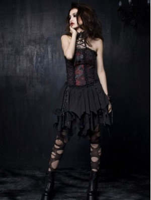 Black and Red Gothic Punk Dress
