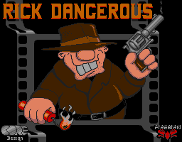 Rick Dangerous grinning on the Atari ST title screen with his hat, lit dynamite and a smoking revolver