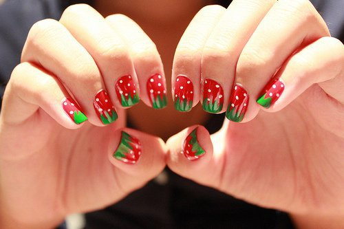 strawberry nails Manicure with Strawberries