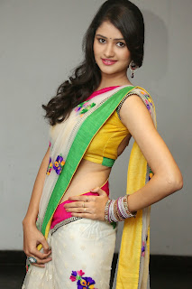 Khushi in lovely Colorful Saree and Backless Blouse Stunning New beauty Khushi
