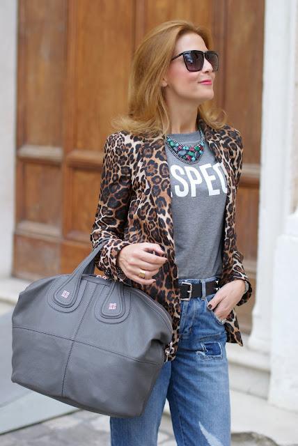 Zara leopard blazer, Givenchy grey Nightingale bag, Nightingale grigia, Fashion and Cookies, fashion blogger