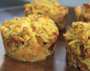 cornbread stuffing muffins with chicken sausage and apples
