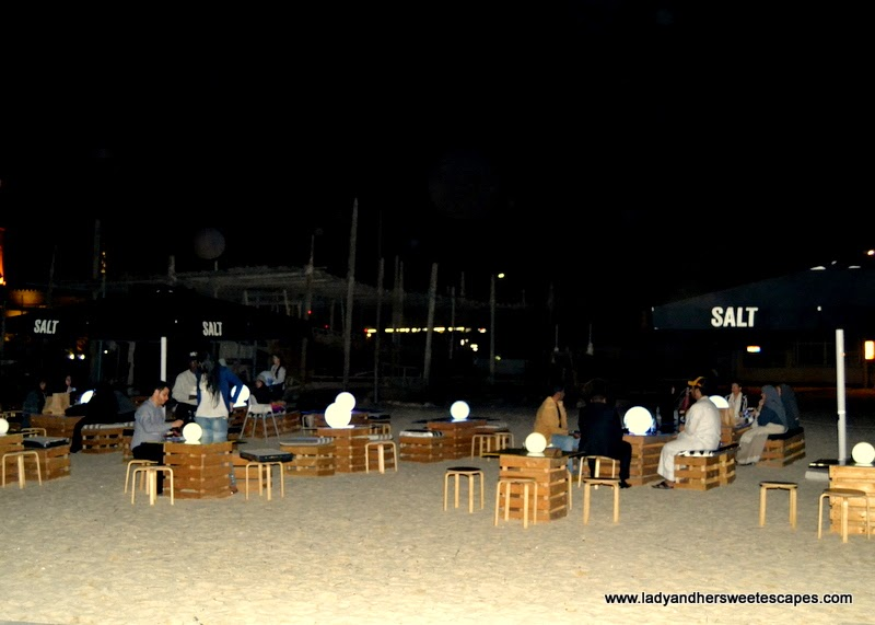 SALT food truck seating area at Kite beach