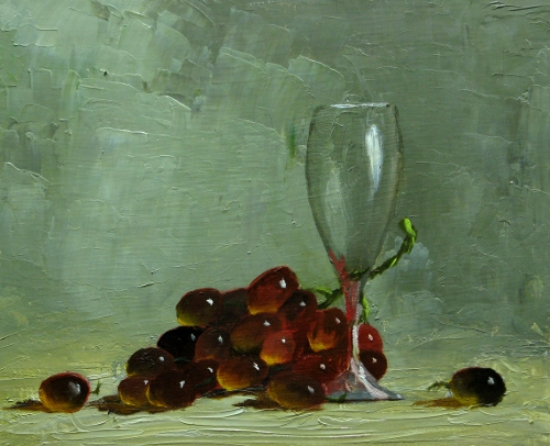Dewire artist new oil painting wine glass and grapes for How to paint glass with oil paint