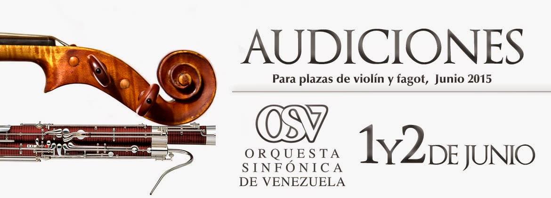 orquesta sinfonica de venezuela audiciones violinista fagotista