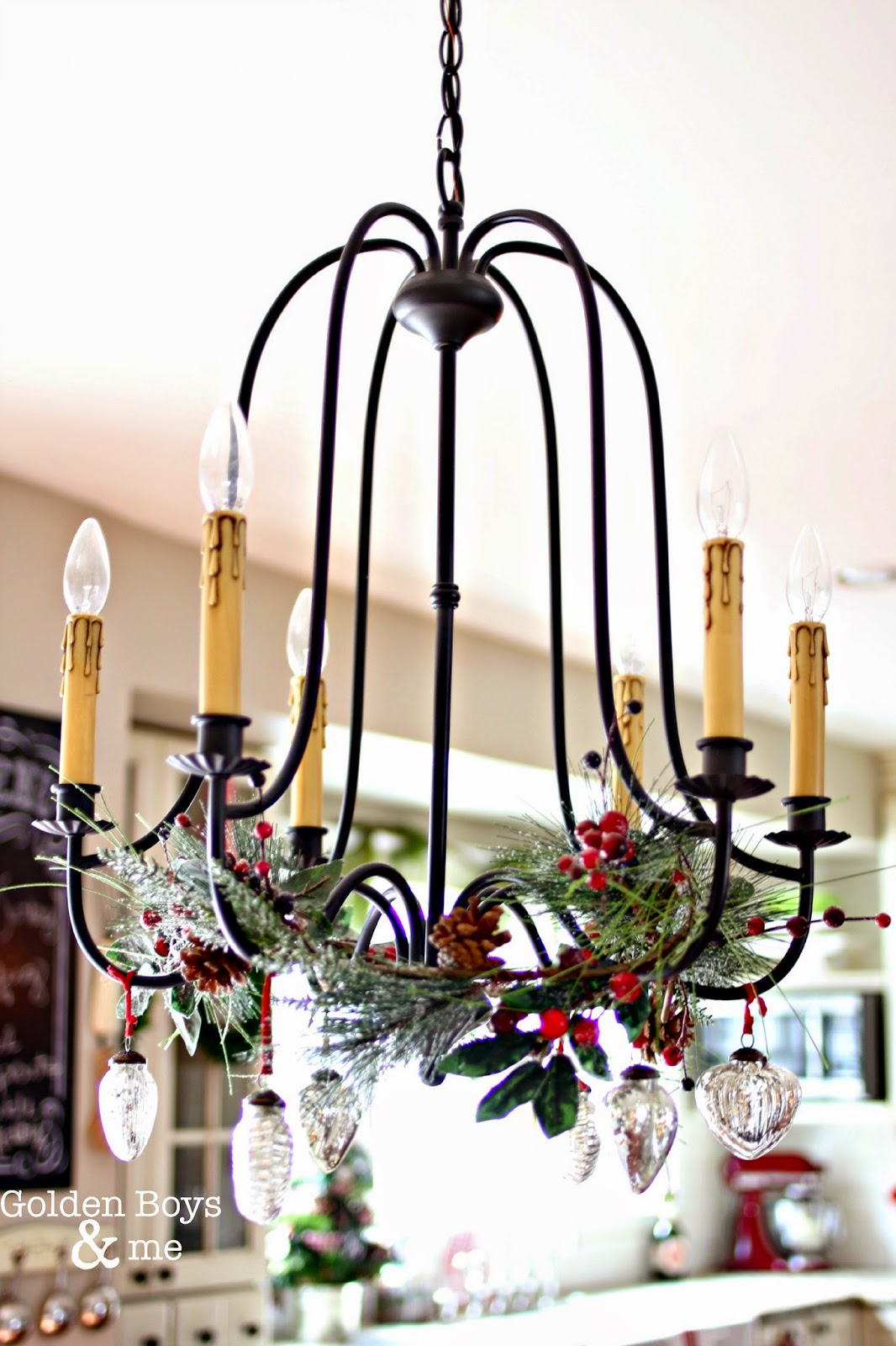 Chandelier with garland and mercury glass ornaments-www.goldenboysandme.com