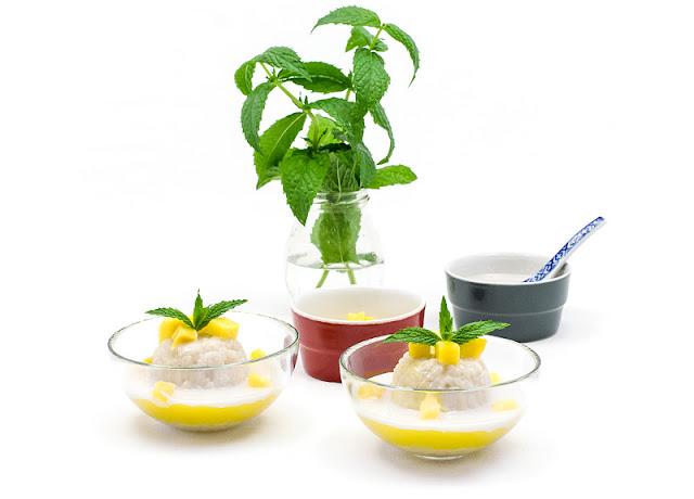 Thai sticky rice with mango recipe shot