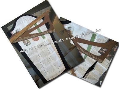 Reciclagem de jornal na criação de moldes.
