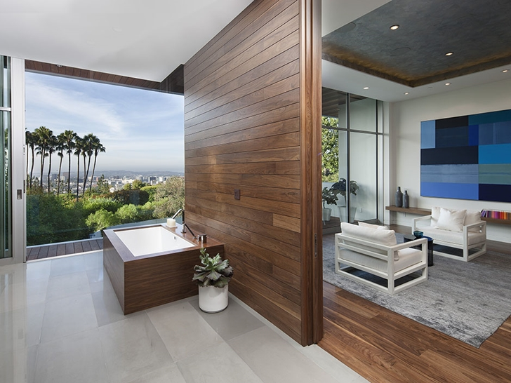 Bathroom wooden wall in Sunset Plaza Drive modern mansion in Los Angeles
