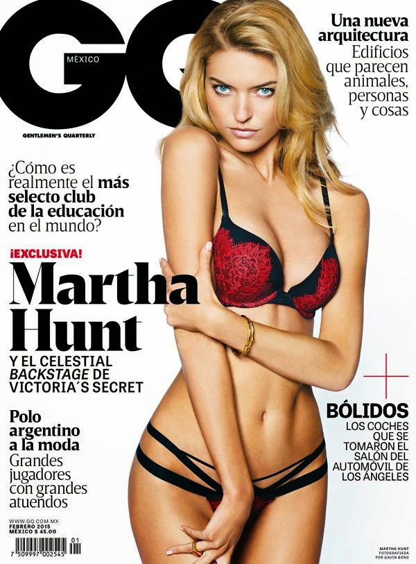 Martha Hunt covers GQ Mexico February 2015 in Victoria's Secret lingerie