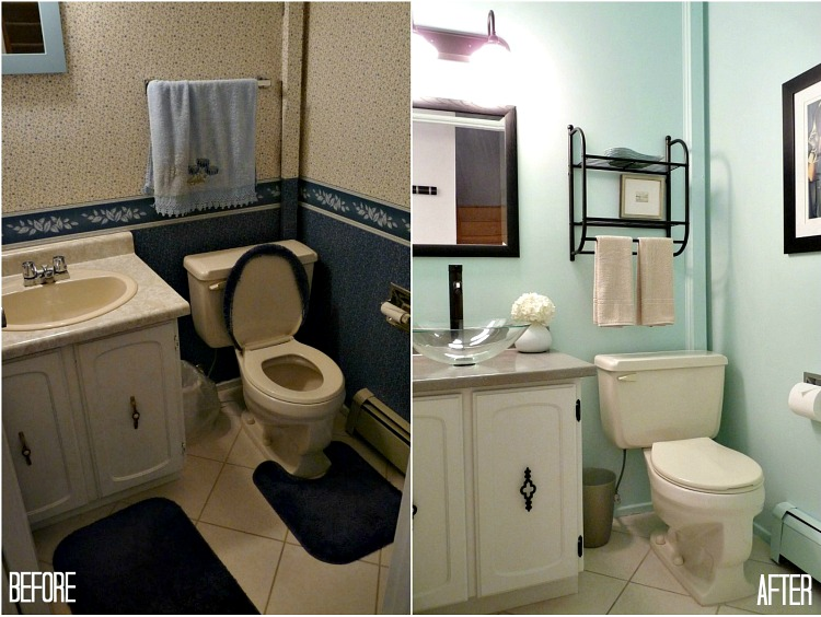 Budget Friendly Half Bath Makeover With Aqua Walls Dans Le Lakehouse