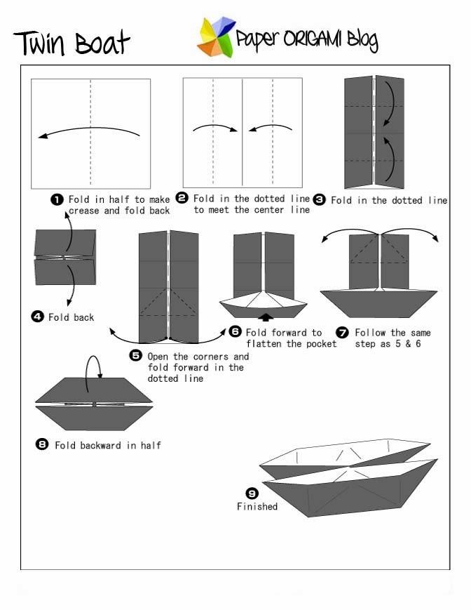 fun origami  twin boat