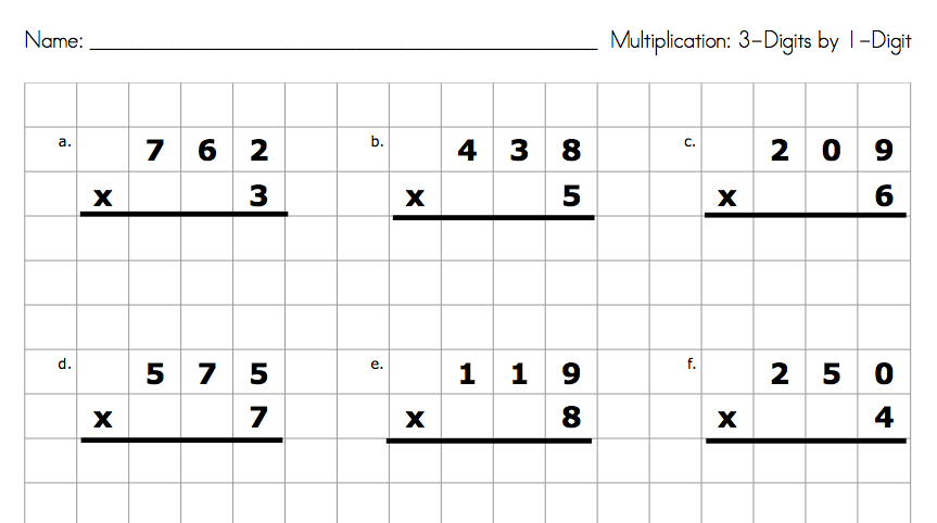 Double digit multiplication worksheets graph paper