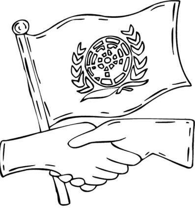 Dibujo por el Día de las Naciones Unidas para colorear (Bandera de las Naciones Unidas para colorear)