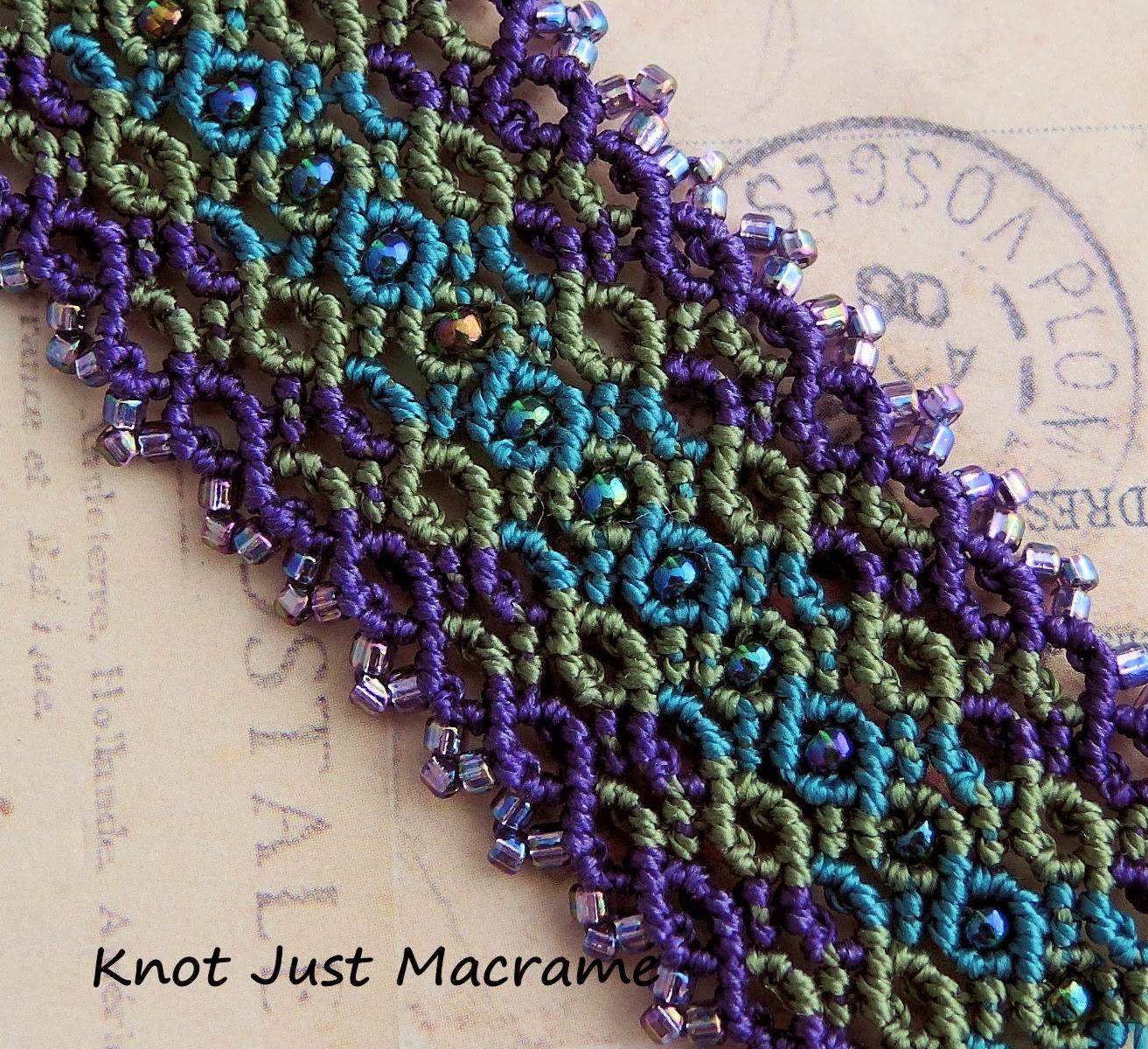 Knotted curves micro macrame in purple, olive and teal