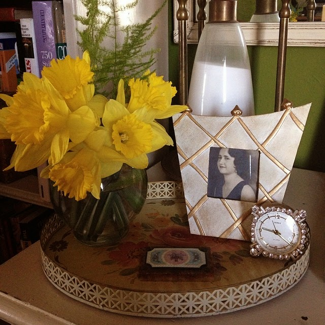Daffodils, desk vignette, vintage photo