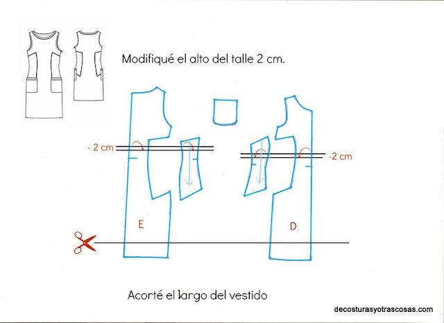 como acortar el alto del talle sobre patrón