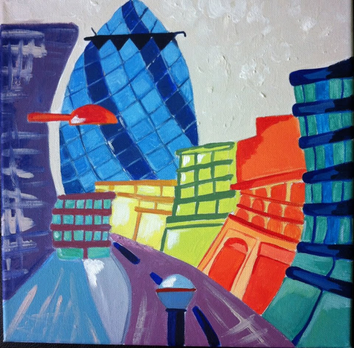 Quirky london Gherkin acrylic painting set of 4..more to come...