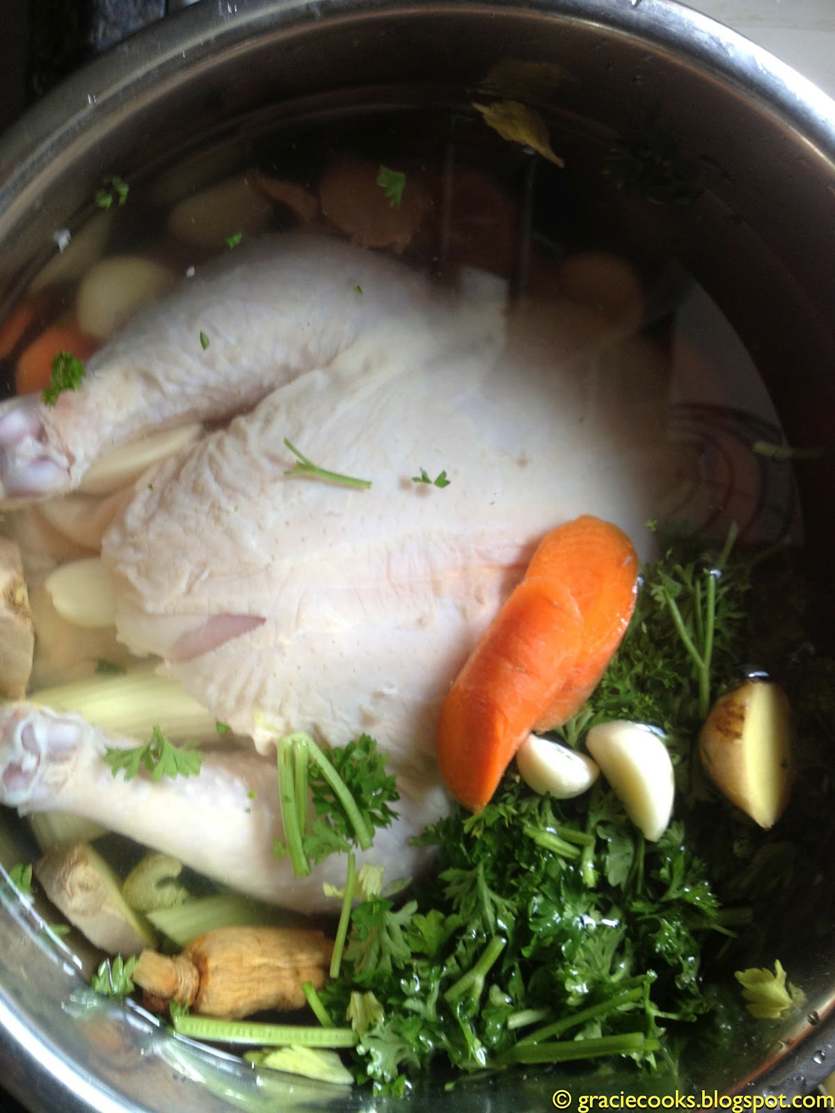 Gracie cooks hearty 30 minute chicken soup the instant for How long to boil a whole chicken for soup