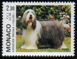 1990年モナコ公国 ビアデッド・コリーの切手