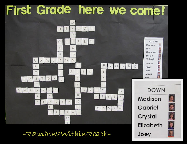 photo of: Back to School Bulletin Board Using Student Names as Cross Word Puzzle