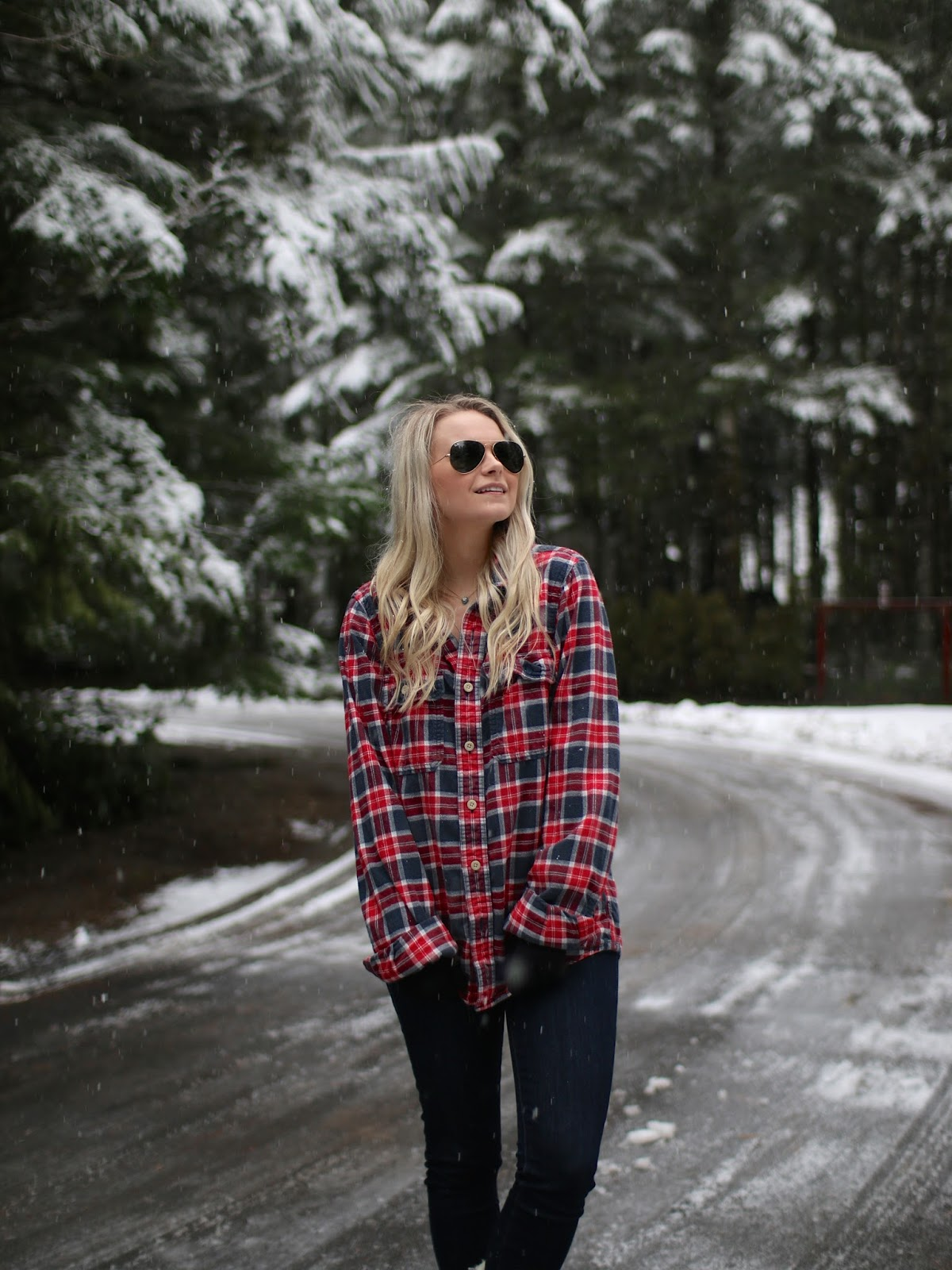 how to style a red and blue plaid shirt