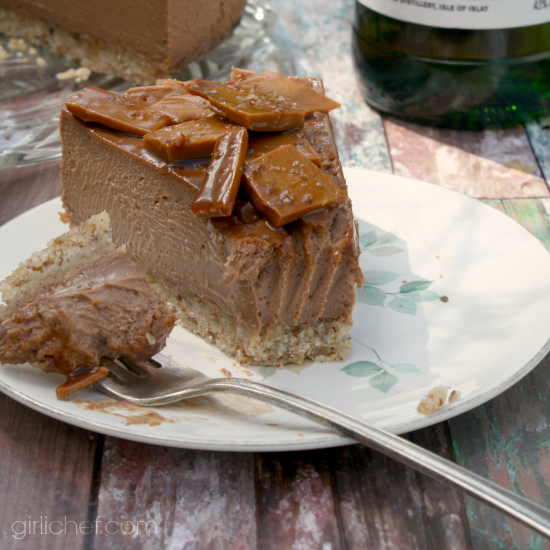 Chocolate Cheesecake with Whisky Toffee Shards for National Cheesecake Day | girlichef.com