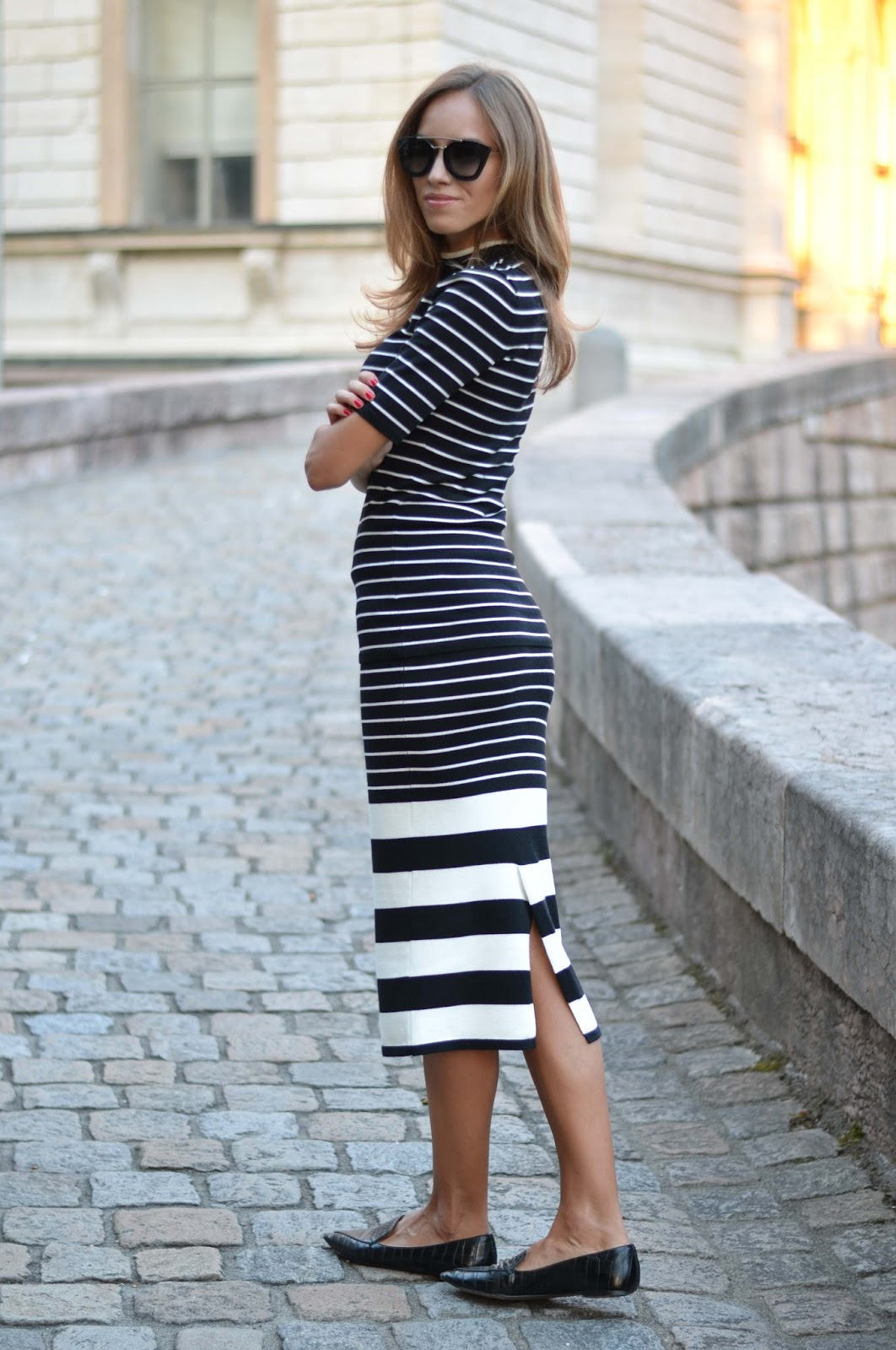 kristjaana mere hm black white striped knitted top skirt