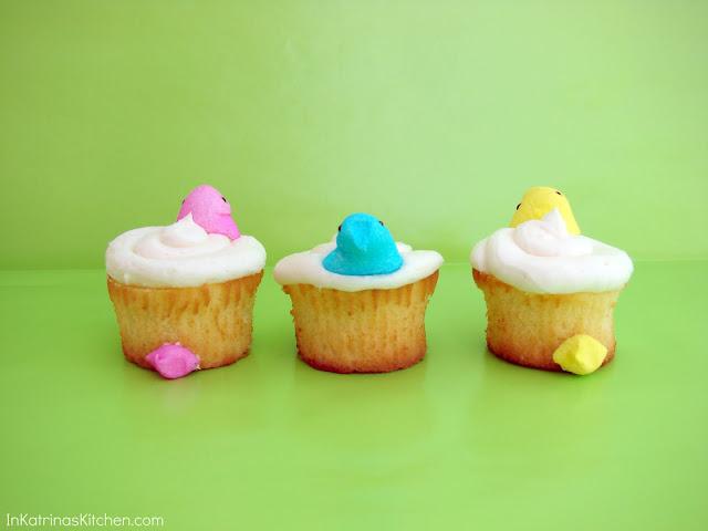Peeps Peek-a-Boo Cupcakes from @KatrinasKitchen