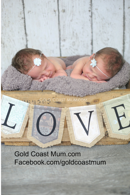 Gold Coast Mum.com blog, twins, twincesses, newborn twin photo, twin girls,