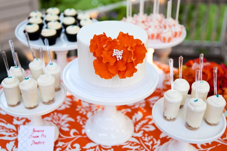 Cocoa & fig: wedding anniversary vow renewal cake & dessert table