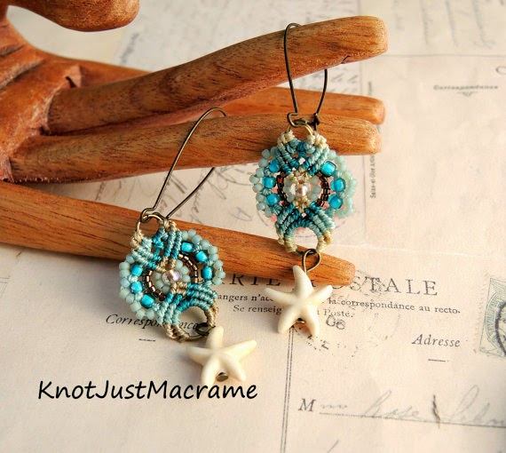 Starfish micro macrame earrings.