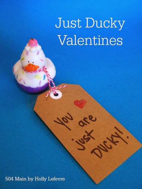 Simple novelty rubber ducks, paper tags and a pen are just about all you need for some seriously cute valentines.