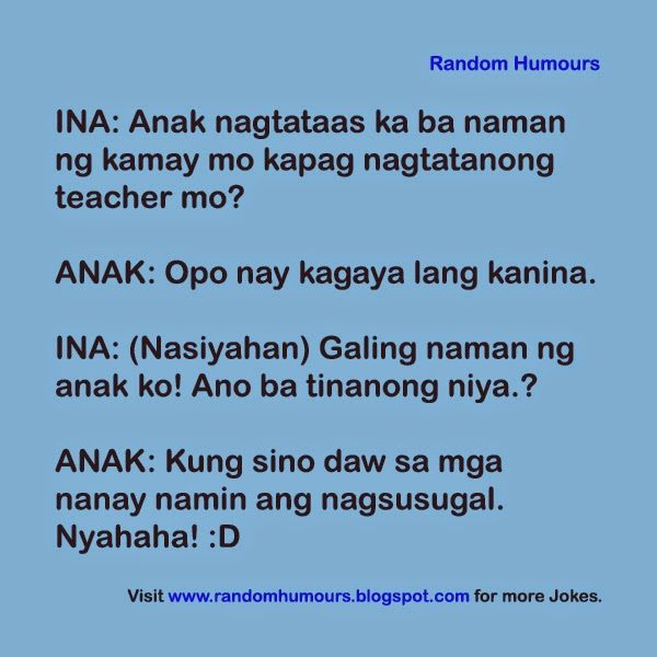 Random Humours: Anak nagtataas ng kamay sa School