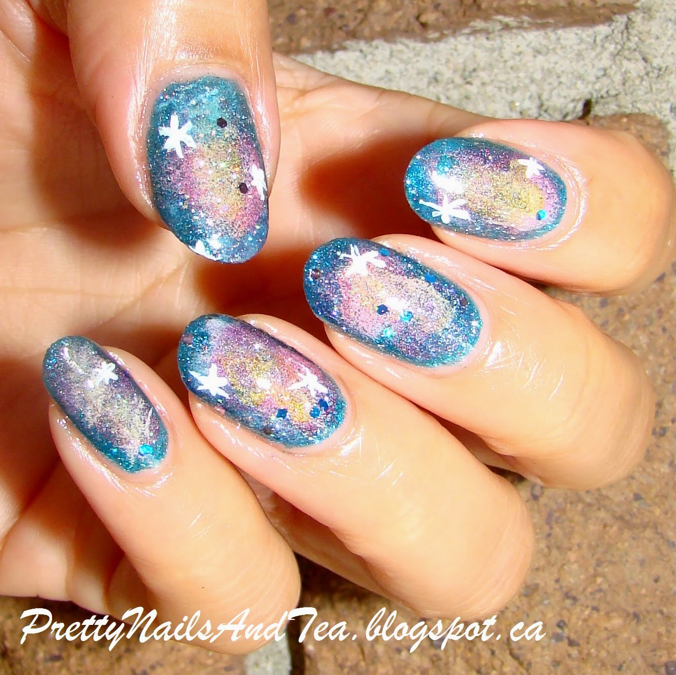 galaxy design nail art