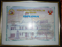 ENTREGA DE DIPLOMA POR LA MUNICIPALIDAD DE ACOBAMBA.AL DIRECTOR GUIADOR SR.JUAN SALAZAR EGOAVIL
