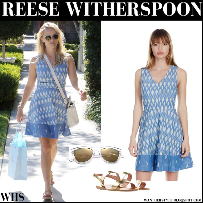 Reese Witherspoon in light blue print mini Joie Norton B dress, gold Clio greek sandals and clear Westward leaning  sunglasses what she wore august 3