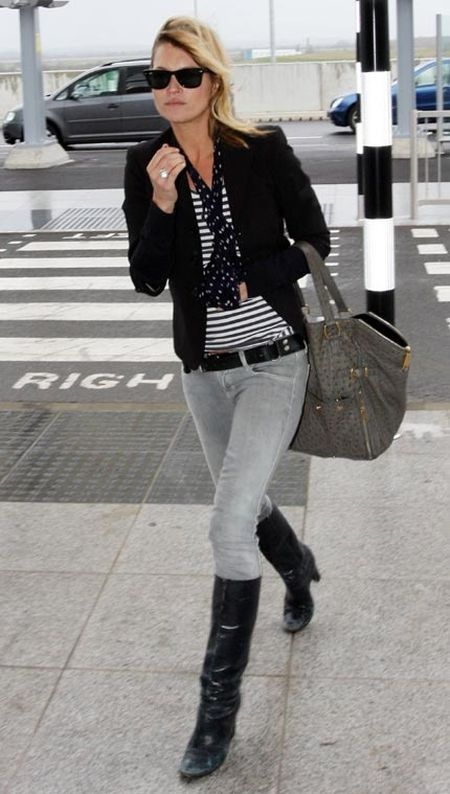 Kate Moss stylish street style black, grey and striped top outfit