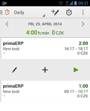 Screenshot of Android app for time tracking.